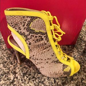 Faux snakeskin tie up ankle heels